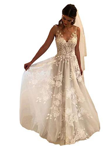 Tsbridal Women Wedding Dresses A-line V-Neck Tulle Lace Backless Boho Wedding Gown Bridal Dresses Ivory US 12