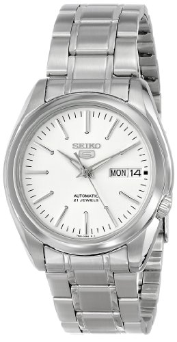 "Seiko Men's SNKL41 ""Seiko 5"" White Dial Stainless Steel Automatic Watch"
