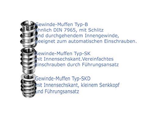 10 Stk. Rampa-Muffen - Eindrehmuttern - Eindrehschrauben - Möbelfittinge - Holz-Metallverbinder (Gewindemuffe TYP B Edelstahl A2-AISI 304, M 6)
