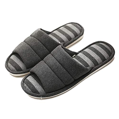 xsby Men's Comfortable Casual Cotton Flax Slipper Indoor Open Toe Cotton House Shoes Black E 44-45