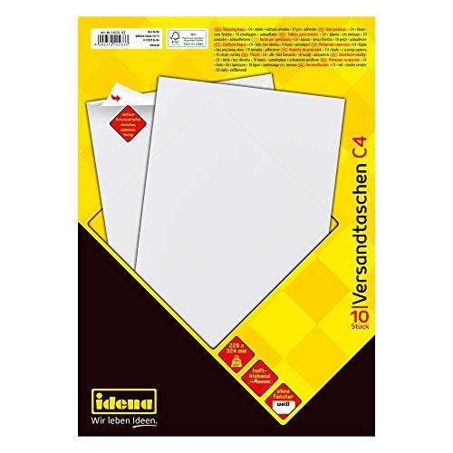 Idena 10233 - Versandtasche C4, 100 g/m² extra starke Qualität, haftklebend, ohne Fenster, weiß, 10 Stück