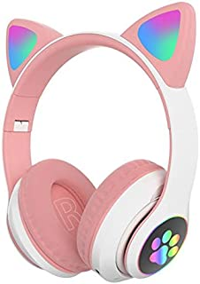 Cute Cat Ear Headphones, Wireless Bluetooth 5.0 Bass Noise Cancelling Headphones with Built-in Microphone, Support FM Radi...