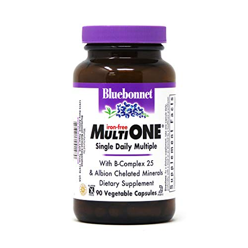 Bluebonnet Nutrition Multi One (Iron Free) Vegetable Capsules, Complete Full Spectrum Multiple, B Vitamins, General Health, Gluten Free, Milk Free, Kosher, 90 Vegetable Capsules, 3 Month Supply