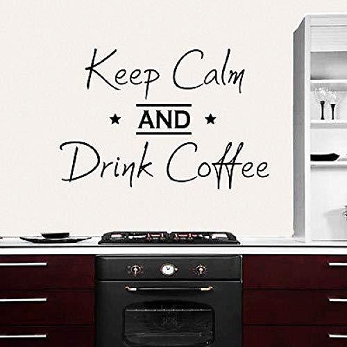Fototapete Zitat behalten Sie Ruhe und trinken Sie Kaffee Aufkleber Küche Dekor Vinyl Art Deco62x42cm