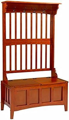 Amazon.com: Cherry Finish Hall Tree & Storage Bench by Home ...