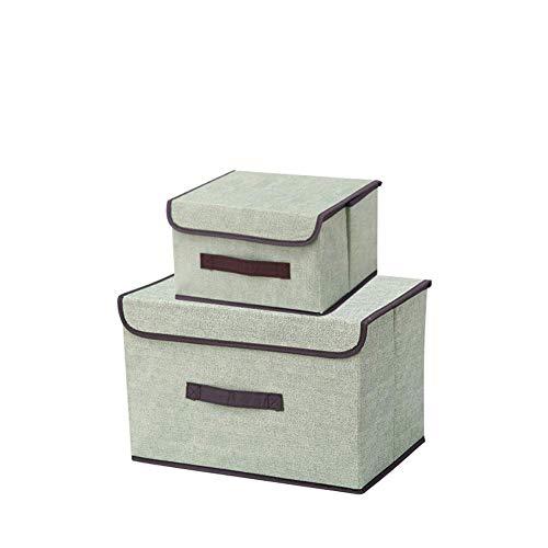 NAFE Juego de 2 Cajas de Almacenamiento - Cubos de Tela con Tapa práctica - Ideal como Caja de Almacenamiento de Ropa o Estante - Regalo para la Familia Green