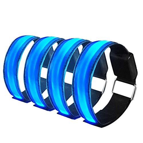 Led-armband, verlicht de gloeiband om te lopen en voor activiteiten, verwisselbare accu - 4 modi (altijd helder/snel knipperend/langzaam knipperend/uit), 25 cm glow-armbanden, uniseks.