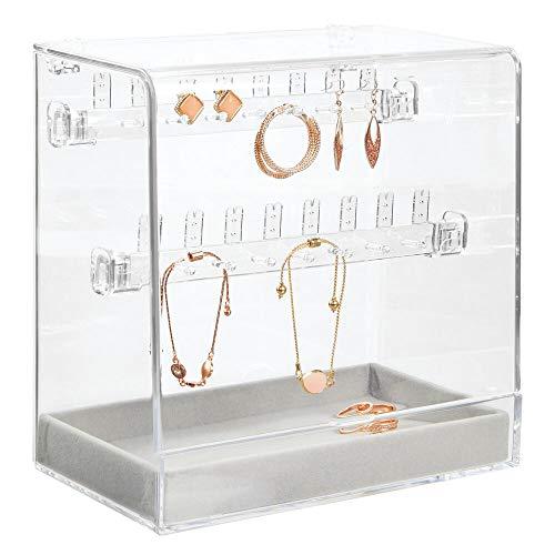 mDesign Schmuckkästchen – Schmuckkasten mit Samtschublade für Uhren und 14 Haken für Ketten und Armbänder – Schmuckständer mit Deckel für 16 Paar Ohrringe – durchsichtig und grau
