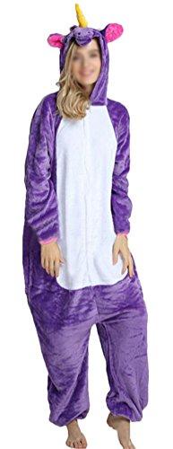 Brinny Pajamas Onesie Cospaly Fleece Costume Deguisement Adulte Unisexe Pegasus Unicorn, Violet - M