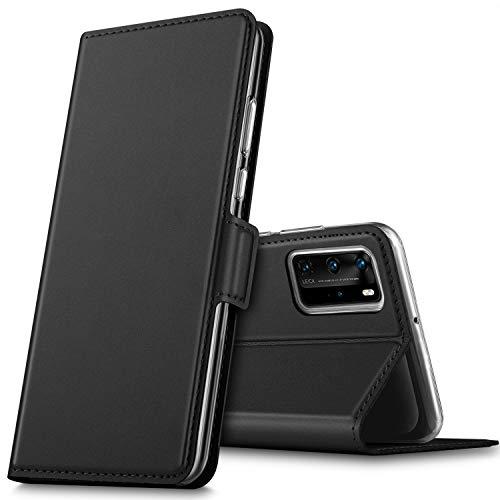 GEEMAI para Capa Huawei P40 PRO, Flip Stand Capa de cartão de crédito com função Premium em proteção duradoura PU, para Smartphone Huawei P40 PRO. (Preto)