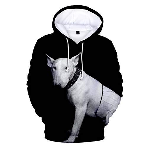 ZIGJOY Sudaderas con Capucha Unisex Sudadera Bull Terrier Impresa en 3D Sudaderas de Manga Larga Divertidas Sudaderas para Perros Ligeras con Bolsillos
