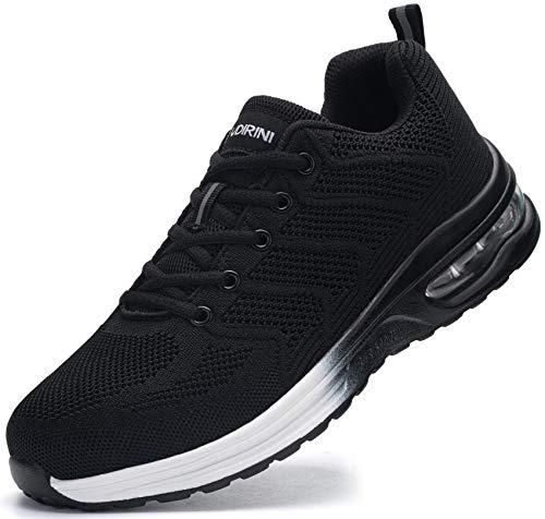 Ziboyue Zapatos de Seguridad Hombres Aire Liviano Calzado de Trabajo con Punta de Acero Transpirable Zapatillas de Seguridad (Negro Blanco,38.5 EU)