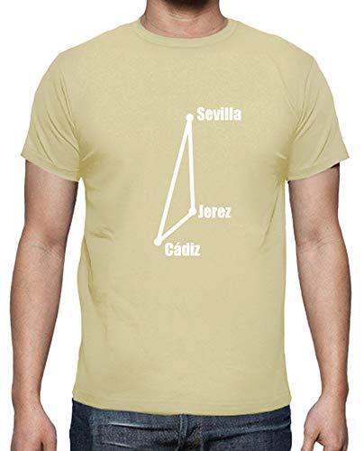 latostadora - Camiseta Tringulo Flamenco para Hombre Crema L