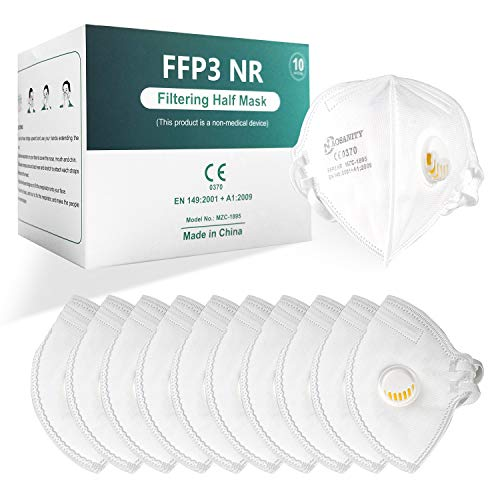 10X AOSANITY FFP3 Mundmaske Schutzmaske Maske, 6-Lagen-Atemschutzmaske, Erwachsenenmaske Mund-Nase Gesichtsschutz mit hochwertigem Stoff mit Atemventil 10Stück A01