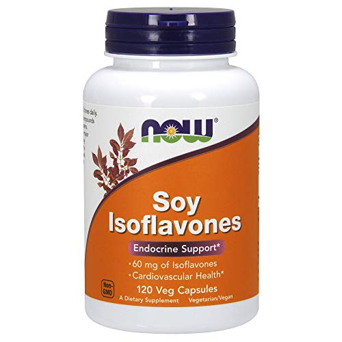 NOW Supplements, Soy Isoflavones, 60 mg (Plant Compounds Particularly Concentrated in Soybeans, like Genistein, Daidzein and Glycitein), 120 Veg Capsules