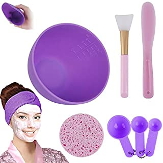 Facemask Mixing Bowl Set, Anmyox DIY Face mask Mixing Tool Kit with Silicone Mask Bowl, Face Mask Brush, Measuring Spoons, Mask Spatula, Makeup Headband and Exfoliating Sponge (8-IN-1)