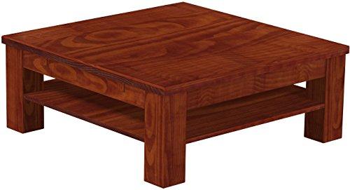 B.R.A.S.I.L.-Möbel Brasilmöbel Couchtisch Rio Classico 100x100 cm Mahagoni mit Ablage Wohnzimmertisch Holz Tisch Pinie Massivholz Stubentisch Beistelltisch Echtholz Größe und Farbe wählbar
