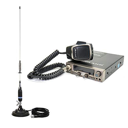 Midland Paquete emisor de Radio CB M20 con USB, ASQ Digital, S-Meter Digital, 4W, 12V + PNI Antena S75 con Mariposa e imán 125mm