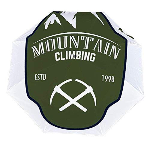 Faltbarer Regenschirm Bergsteigen Emblem mit Rock Peak Schirm Offen Close Winddicht Regenschirm Leicht Kompakt Outdoor Regenschirm Sonne & Regen