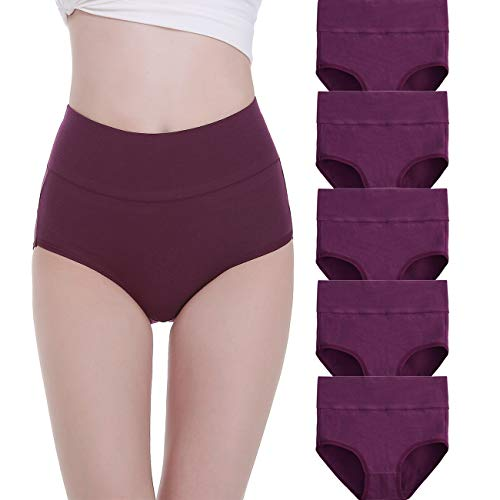 FALARY Unterhosen Damen Baumwolle Hohe Taille 5er Pack M Violett