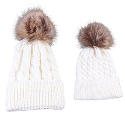 Vovotrade Mamma e bambino che lavora a maglia tenere il cappello caldo (bianco)