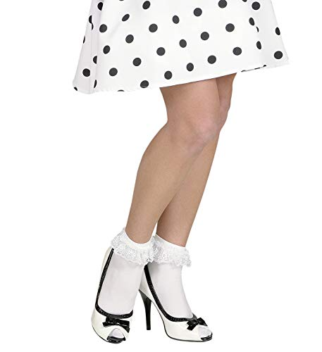 shoperama Damen Söckchen mit Spitzenrüsche Weiß Rockabilly 50er Jahre Dirndl Rotkäppchen Krankenschwester Cheerleader