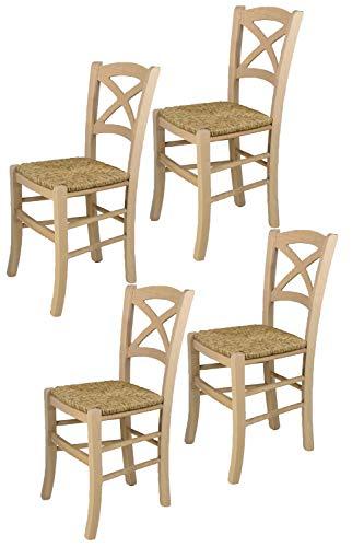 Tommychairs - Set 4 sillas Cross para Cocina y Comedor, Estructura en Madera de Haya lijada, no tratada, 100% Natural y Asiento en Paja