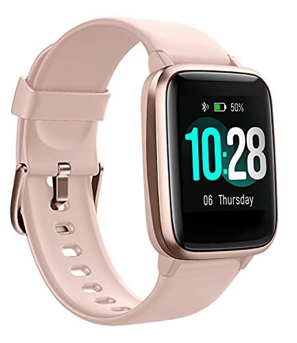 Smartwatch für Damen Herren mit Pulsuhr Fitness Armbanduhr, 1.3 Zoll Touch-Farbdisplay, Sportuhr mit Schrittzähler, Schlafmonitor, Stoppuhr für Android iOS, Rosa-Gold