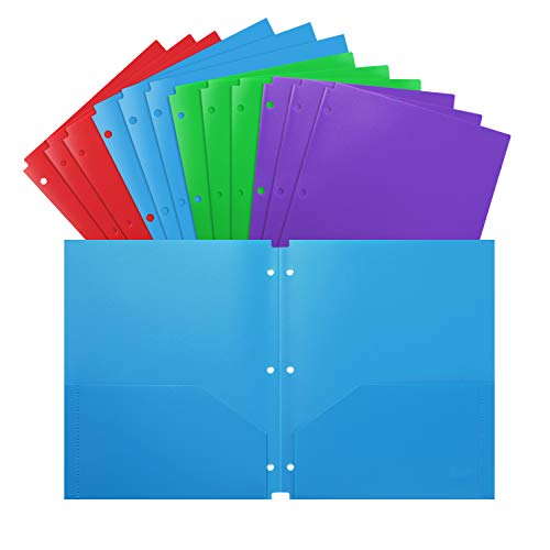 Folders 3 Hole Letter Size 12 Pack Plastic Heavy Duty for School Work and Home Plastic-Folders-with-Pockets Assorted Colors