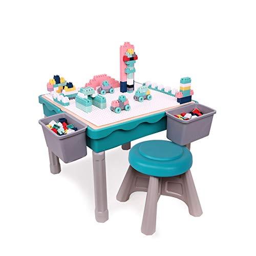 JTKDL Bloques de construcción Mesa de Juego con Silla para niños con Almacenamiento para niños niñas