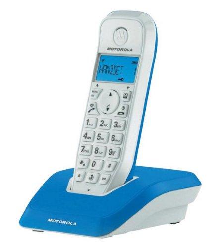 Motorola Startac S1201 DECT Schnurlostelefon (Analog, Freisprechen, ECO-Modus, Displaybleuchtung auf Gerätefarbe abgestimmt) blau