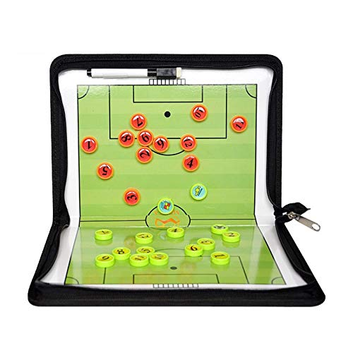 MHSHKS Fußball Coach-Board Faltbar Coaching Board Reißverschluss Taktikmappe Taktiktafel Tragbar Taktisches Board