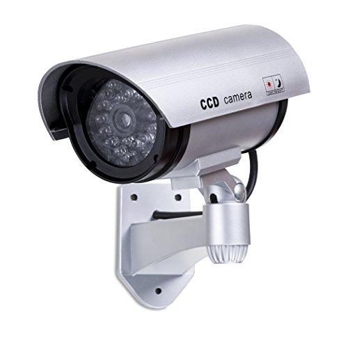Cámara falsa CCTV con luz LED intermitente – Cámara de seguridad falsa para exteriores – Cámara falsa CCTV falsa + señales de CCTV gratis al aire libre – Decoy CCTV cámara al aire libre