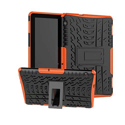 XITODA Custodia per Huawei MediaPad T5 10, Hybrid TPU Silicone & Duro PC Protezione Cover per Huawei MediaPad T5 10.1 Pollici 2018 Tablet Case Custodia con Kickstand Stand(Arancia)