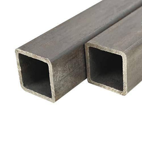 UnfadeMemory Tubo de Acero Cuadrados para Soportar una Carga Pesada,Barras Huecas de Acero,Tubos de Sección de Caja,Acero Estructural (S235JR) (2uds-Longitud 197cm-60x60x2mm)