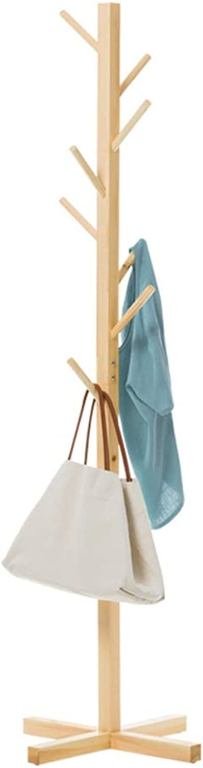 TH Free Standing Coat Rack, 8 Hooks Clothes Shelf, Tree-Shaped Display Coat Stand, Wood Natural Colour- 50×158CM