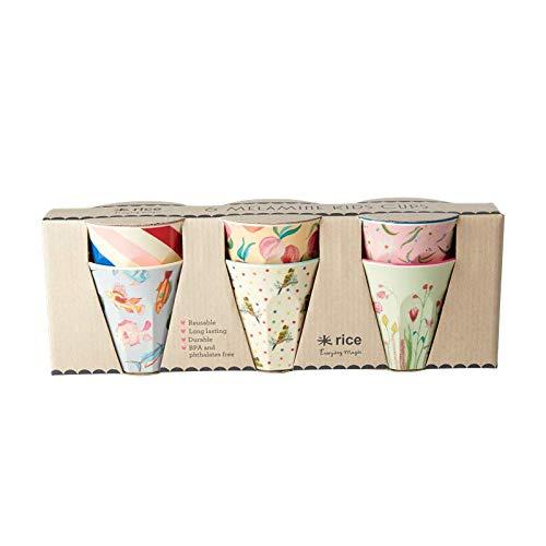 Rice Becherset Kinder 6 teilig, verschiedene Motive im Set, Größe 7 cm, Muster Choose Happy Print Artikelvariante Becherset Rose Mädchen