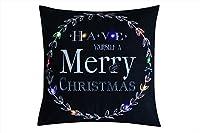 【Click】クッションカバー 45×45cm Ledライト クリスマス 光る イルミネーション おしゃれ 部屋装飾 ソファ (③)他3種類