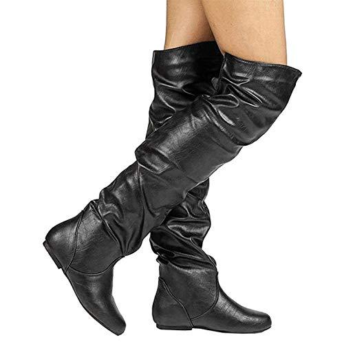 YZT QUEEN Damen Stiefel overknees, Sexy Fashion Stretch Ärmel, PU Leder High-Stretch Over-Knee Stiefel, Winter Fashion Slim Flacher Absatz Stiefel, Hohe Stiefel,Schwarz,37EU/3.5UK