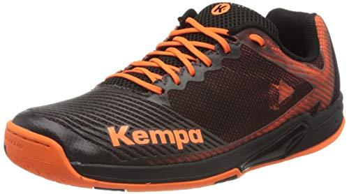 Kempa Wing 2.0 Zapatillas De Balonmano para Hombre, Hombre, Negro/Naranja Fluor, 11.5