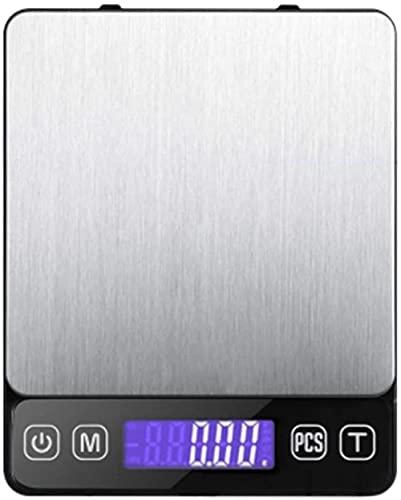 angelHJQ Básculas de pesaje electrónicas digitales de cocina de 500 g/0.1 g, báscula de alimentos con pantalla LCD, función de tara de alta precisión para la escuela casera
