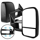 AUTOSAVER88 Manual Telescoping Towing Mirrors Compatible with 1999-2007 Chevy Silverado GMC Sierra 1500 2500 3500 (07 Classic Models ONLY), Side Tow Mirror for 2000-2006 Suburban Tahoe Yukon Truck