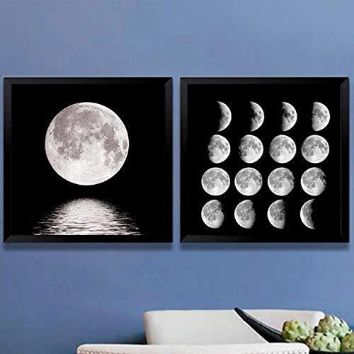 LKLKK Poster e Stampe su Tela con Fasi lunari Minimalista Nero Bianco Fasi lunari Stampe Decorazione per Soggiorno Decorazioni per la casa Moderne 50x70cmx2 (Senza Cornice)