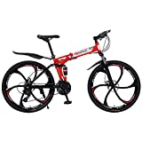 Fitfulvan Adult Folding Mountain Bikes - 26 Inch Steel Carbon Mountain Trail Bike High Carbon Steel Double Suspension Frame Folding Bicycles, 21 Speed  Mountain Bicycle, Red