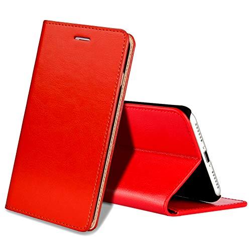 EATCYE Custodia iPhone 8 Plus,Cover iPhone 7 Plus, Custodia in Vera Pelle Pelle Libro Portafoglio in Pelle Magnetic Closure Paraurti per Apple iPhone 8 Plus/iPhone 7 Plus (Rosso)