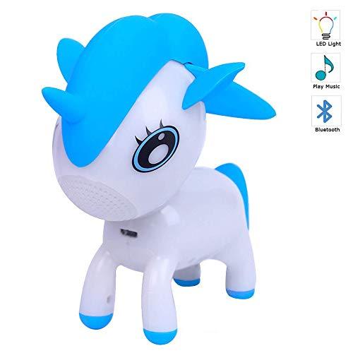 Altavoz Bluetooth Unicornio Cute Niños Animales Mini Inalámbrico Portátil Color RGB Lámpara Noche Reproductor Música (Azul)