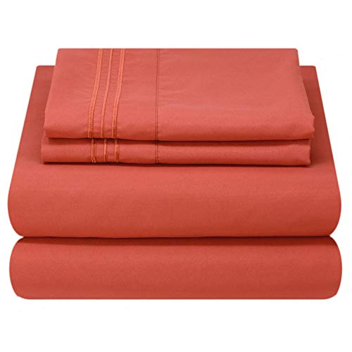Mezzati Luxury Bed Sheet Set - Soft and Comfortable 1800 Prestige Collection - Brushed Microfiber Bedding (Orange Rust, Queen Size)