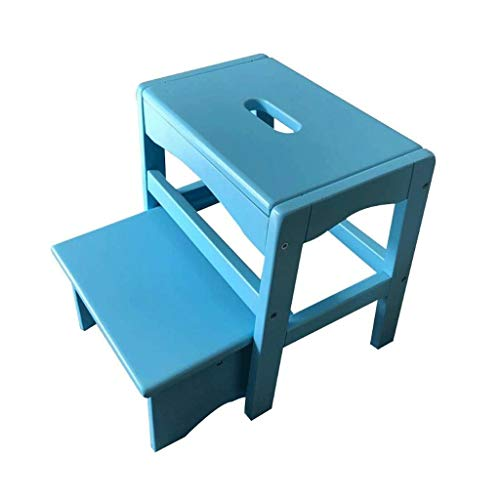 Inklapbare trap, 2 houten stap-emel, hoofdvolwassen schoenenbank-stijgende speel, die hoge Schemel Kinderbankje klimt. blauw