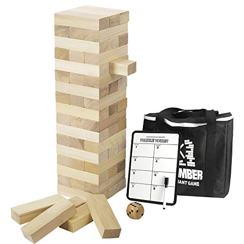 Giant Timber Tower with Dice & Game Board, 56 Pcs Gentle Monster Large Size Wooden Stacking Game, Classic Outdoor Games for Adult Kids Family, Jumbo Blocks (Jumbo 56pc)