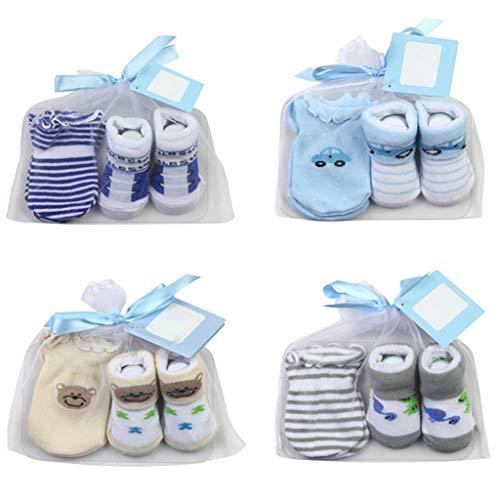 DREAMDEER Calcetines para bebé + Juego de Guantes antirrayas para bebés Varones Regalos para bebés de 0 a 6 Meses
